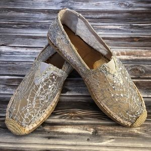 Joy & Mario Silver Sequins Espadrille Loafers